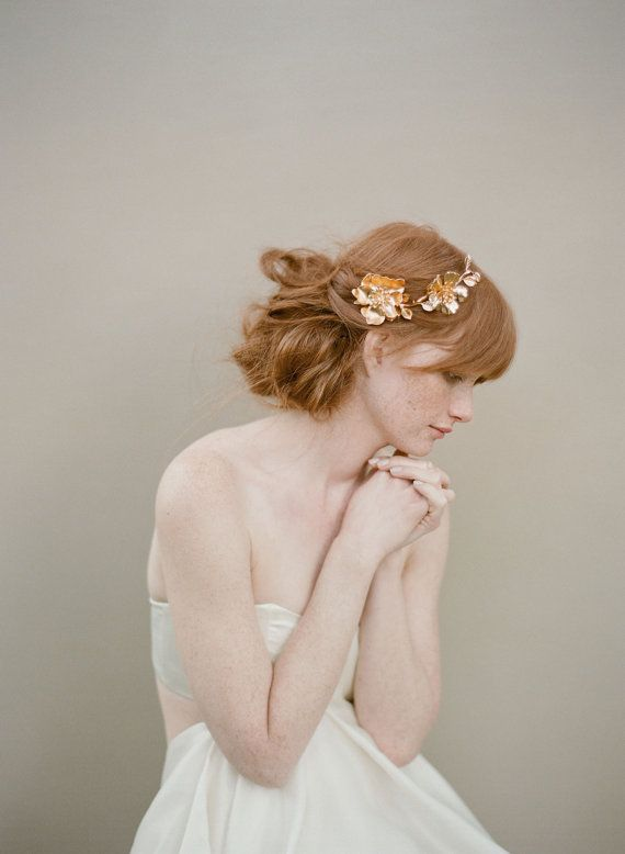 Bridal rose hairclip headpiece gold  Golden Rose and by myrakim, $280.00