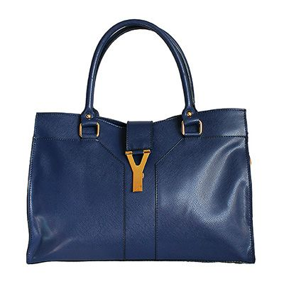 Y-Flap Over Blue Leather Handbag - Down to £54.99 from £84.99