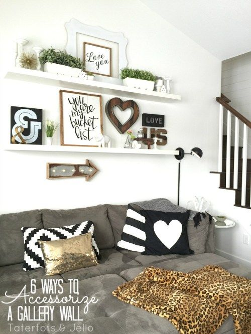 6 ways to accessorize a gallery wall! Home decor for shelves!