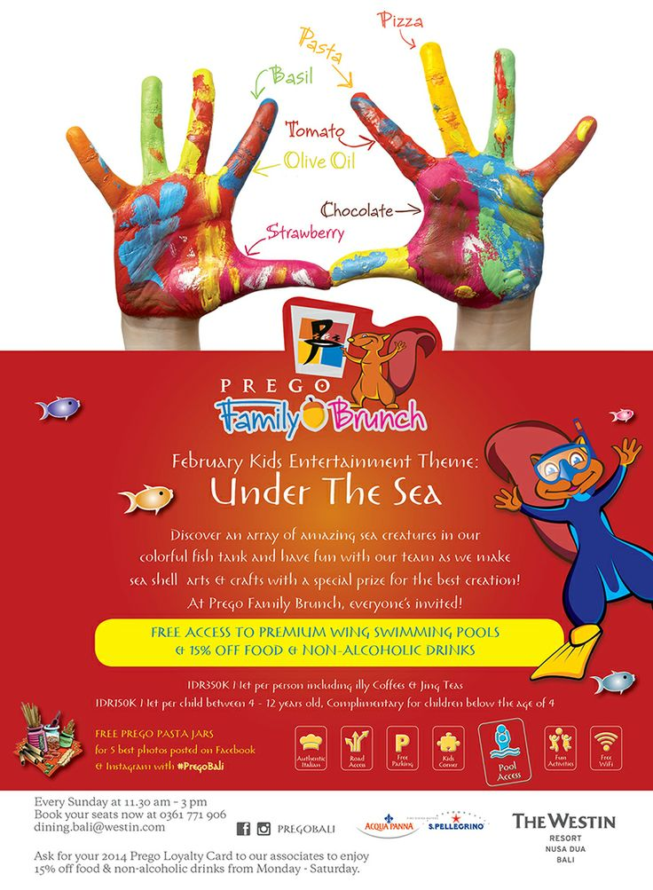 """Join our Sunday Family Brunch with the theme of """"Under The Sea""""!  Now with free access to Premium Wing swimming pools and 15% off discount for food & non alcoholic drinks.  At Prego Family Brunch everyone's invited!"""
