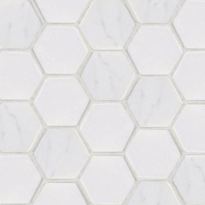 Statuario Hex Mosaic 12 in. x 12 in. Marble Floor and Wall Tile