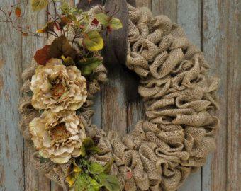 Beige Flower Burlap Wreath--Burlap Wreath--Earth Tone Burlap Wreath with Curly Twigs--Year Round Burlap Wreath