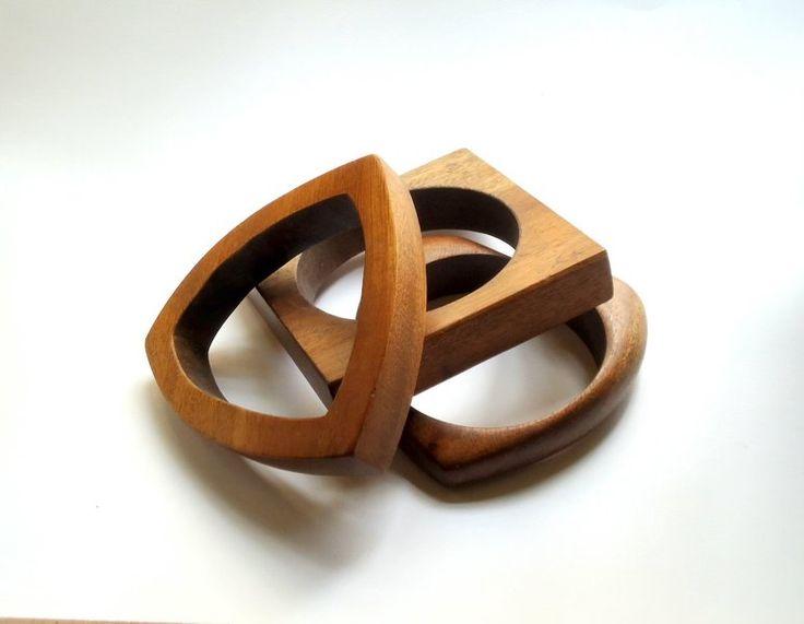 Vintage-Armband, von drei Holzringe verschiedener  von LesGrenouillesParlantes auf DaWanda.com