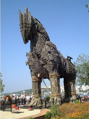 """Çanakkale Turkey - The city is the nearest major town to the site of ancient Troy. The """"wooden horse"""" from the 2004 movie Troy is exhibited on the seafront."""