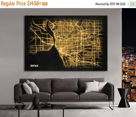 SALE 28% BUFFALO NY Night Lights Map Large Horizontal Wall Art