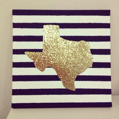 Cut out your state on glitter paper and add to a patterned canvas - we LOVE this idea maybe put a letter or a heart or something