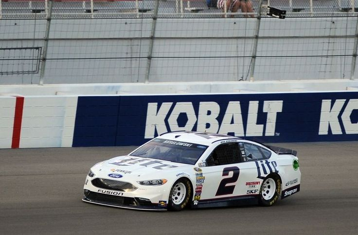 Mar 4, 2016; Las Vegas, NV, USA; NASCAR driver Brad Keselowski makes a lap during qualifying for the Kobalt 400 at Las Vegas Motor Speedway. Mandatory Credit: Stephen R. Sylvanie-USA TODAY Sports  -     Kobalt 400 2016: Brad Keselowski drops American flag (Video)