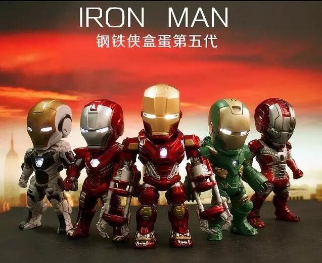Iron Man Eye Light Car Decoration Action Figure EGG ATTACK IRON MAN 5PCS /set  #Unbranded