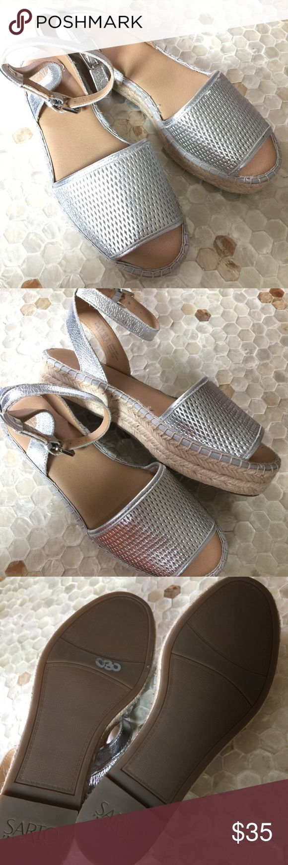 NWOT Sarto Franco Sarto Silver leather Sandals New without box! Sarto Franco Sarto silver leather ankle strap open toe leather sandals. Franco Sarto Shoes Sandals