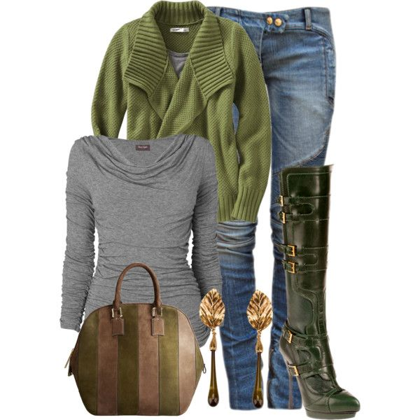 Comfortable Winter Outift Grey Green Boots Earrings Scarf Just an idea how