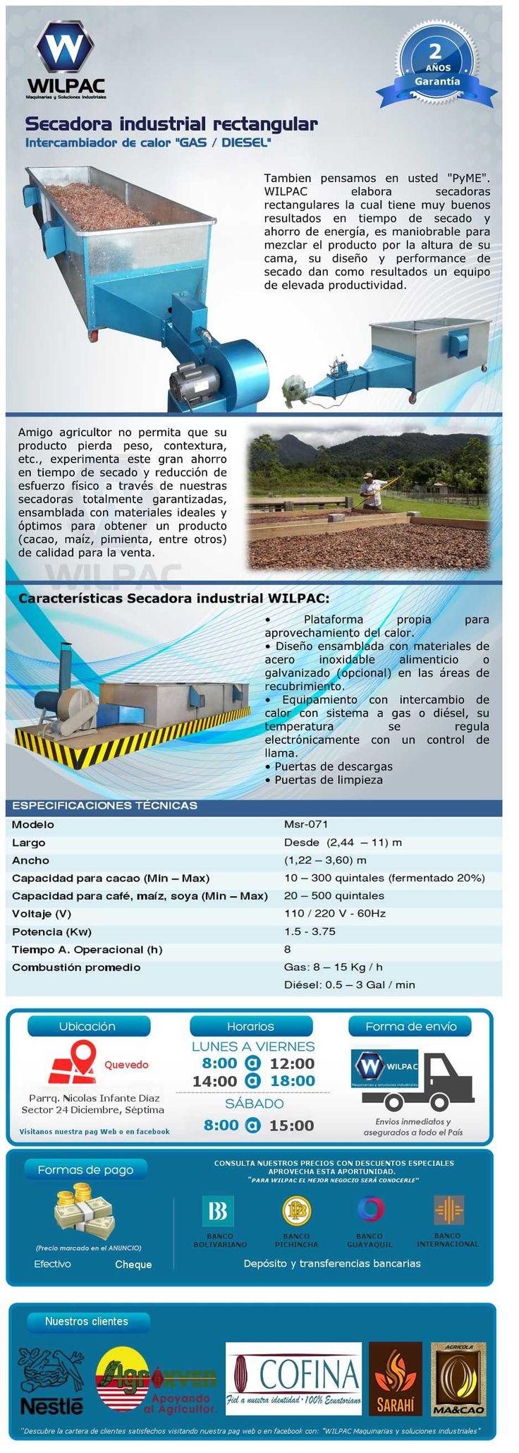 Secadora Cacao Industrial Wilpac Rectangular A Gas / Diesel - U$S 1.989,99