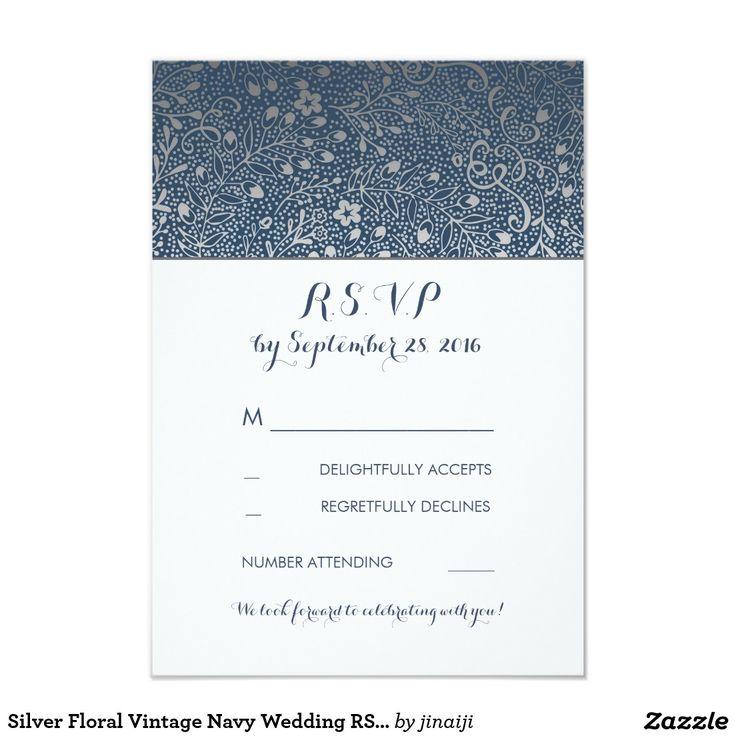 Silver Floral Vintage Navy Wedding RSVP Cards