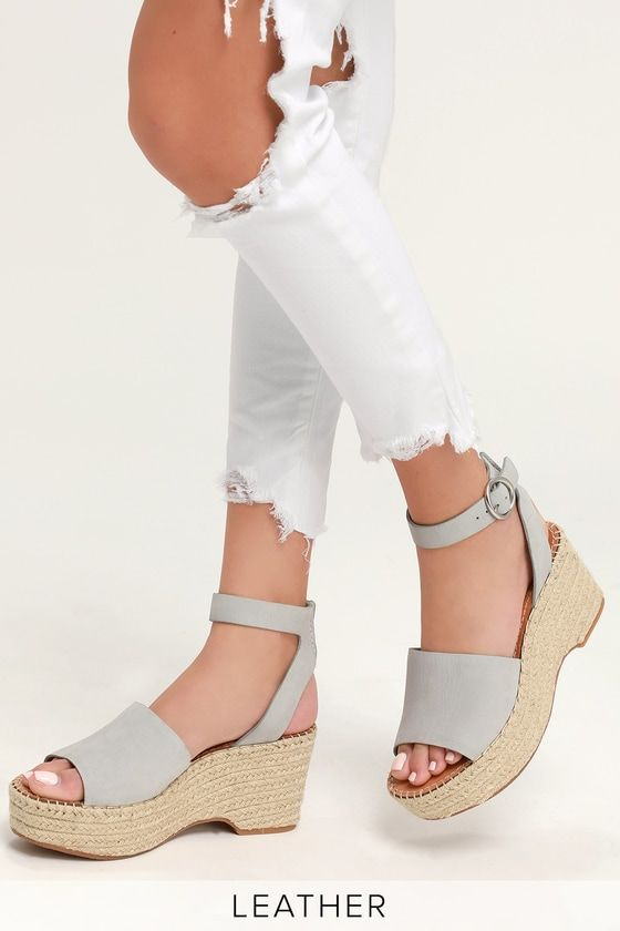 af2a263aca9 Lulus | Lesly Ice Blue Leather Nubuck Espadrille Wedges | Size 10 in ...