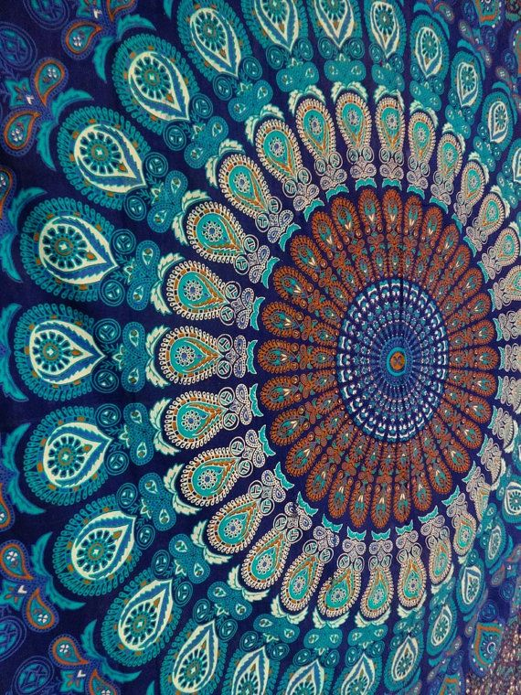A Vibrant Blue Color Theme Bohemian Mandala Cotton Tapestry, This is a Multipurpose Full Size / Double Blanket.    Hippie Indian Tapestries,
