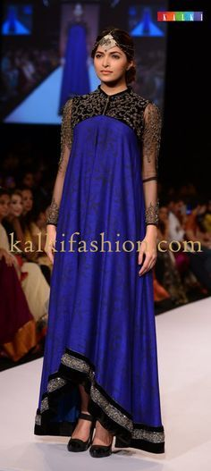 Pakistani Royal Blue And Black Colored