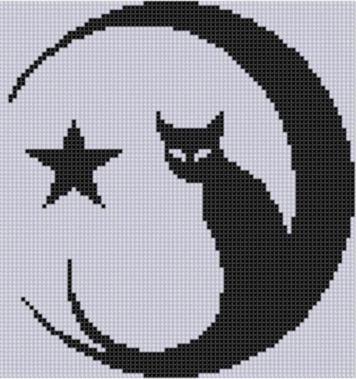 cat and moon cross stitch