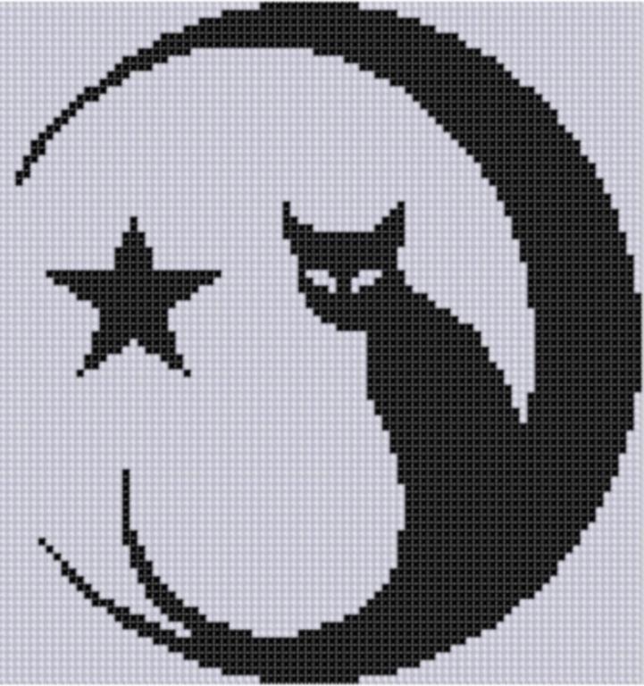 cat and moon cross stitch