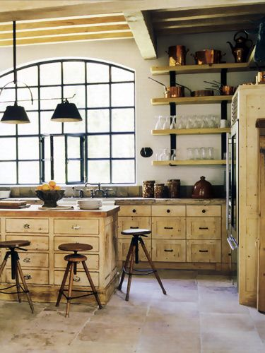 .Interior Design, Beautiful Kitchens, Farms House, Open Shelves, Rustic Kitchens, Interiors Design, Eleanor Cummings, Design Kitchen, Industrial Windows