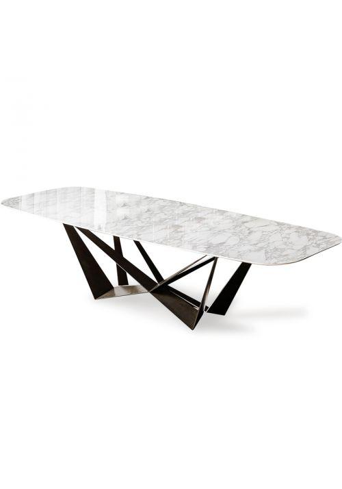 Tavolini da salotto. I tavolo Cattelan Skorpio Keramik ha la base in acciaio verniciato trasparente, arancio fluo, goffrato bianco, nero o graphite. Piano in ceramica Marmi Calacatta