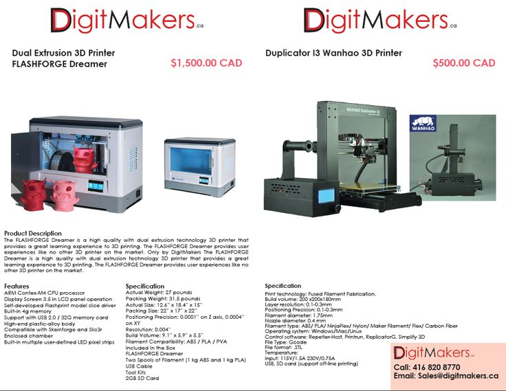 3D Printers for Sale by DigitMakers.ca , Wanhao Duplicator i3 , Flashforg Dreamer