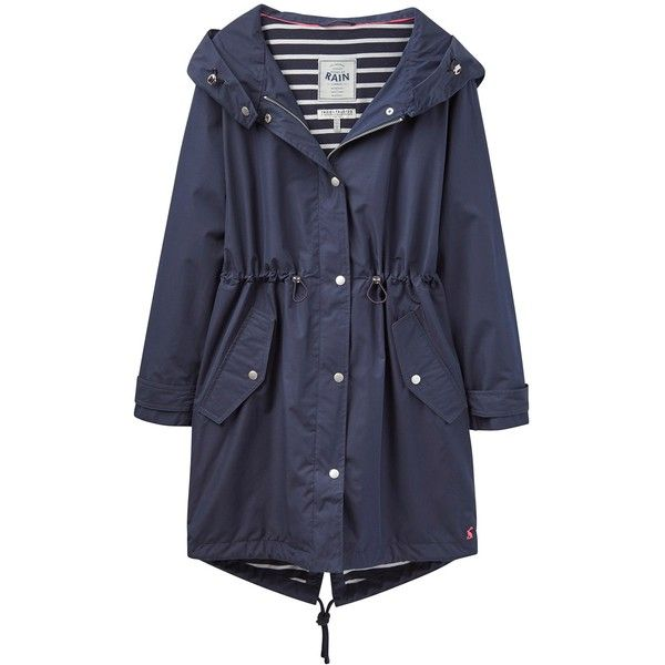 Joules Right as Rain Swithin Waterproof Parka, Navy ($155) ❤ liked on Polyvore featuring outerwear, coats, hooded parka coat, lined parka coats, navy coat, long sleeve coat and pattern coat