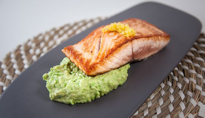 Pan Seared Salmon with Avocado and Pea Mash | Good Chef Bad Chef