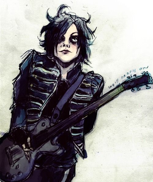 Love the art, but who is this supposed to be? Gee? Frank? Maybe Mikey? It looks like a mix of all three. Mikey's posture, Mikey and gee's face mixed, gee hair, also kind of Frank pose, and guitar which could go with Mikey or Frank. Interesting, I wonder who it is.