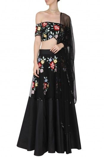 b5df2ce67031f2 Ank by Amrit Kaur Featuring a black off shoulder blouse in silk base with  floral multi-colour thread and black sequins and cutdana embroidery.