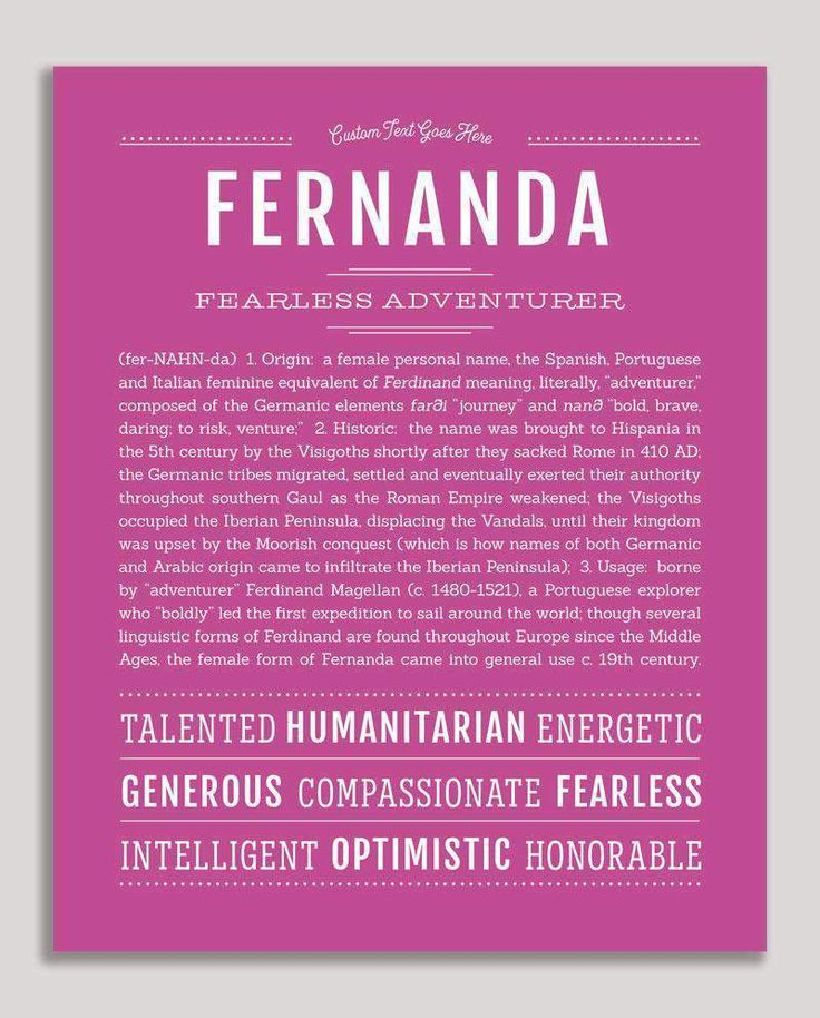 Fernanda Name Art Print Classic names, Personalized
