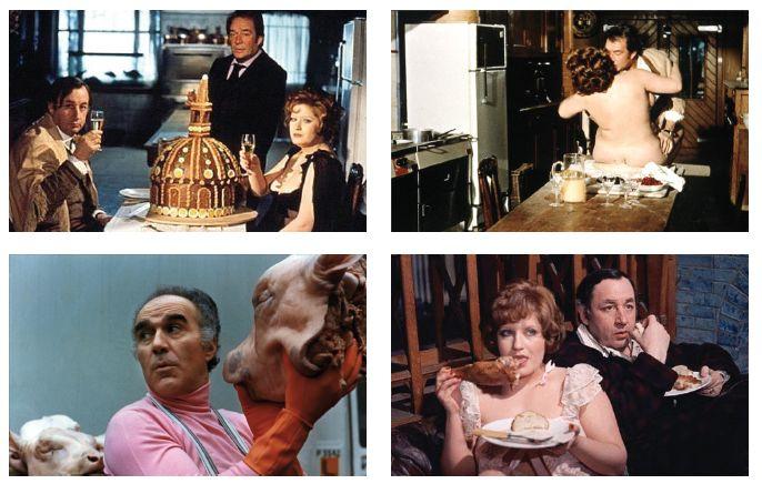 La grande bouffe - La grande abbuffata (1973) Marco Ferreri. Il film mette in scena una lotta tra il cibo e l'uomo, in cui l'uomo soccomberà tristemente. Si comincia con ostriche, tacchino, galletti rognoni alla bordolese, aragosta alla Mozart, spiedini di maiale, porchetta. La cioccolata in tazza tra un pasto e l'altro per aprire lo stomaco. E si continua quasi all'infinito con arrosti, caviale, tacchino, composta di mele, purea di marroni, parmigiano, patè… fino a morire.