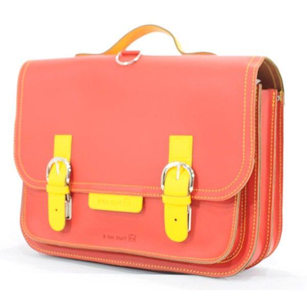 #OwnStuff lederen #boekentas 38cm - rood - geel #satchel #schoolbag #Schulranzen #backtoschool #littlethingz2