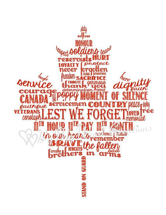 Maple Leaf Word Art Gift for Veteran Armed by ByMyWordCreations