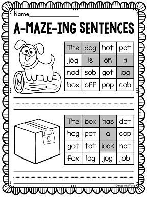 Short o sentence mazes!! So great for my kiddos who need a challenge (this is the answer key)