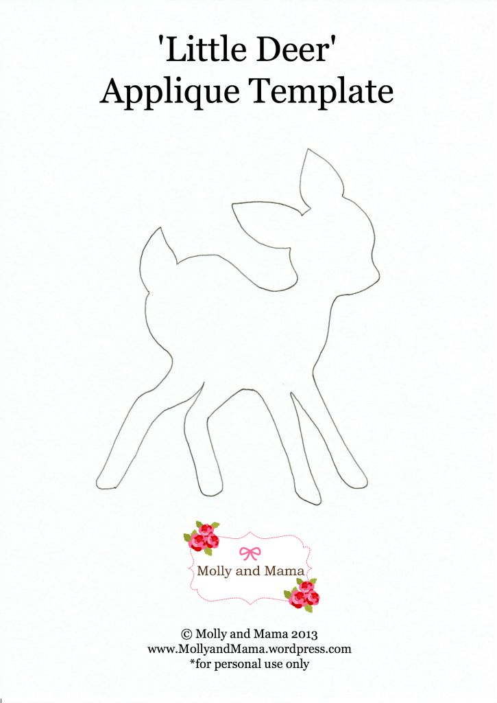 Little Deer Applique Template Baby Shower Applique