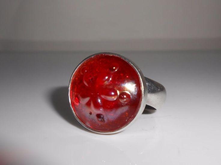 Charles Albert Ring Art Glass Sterling Silver Size 8.5 #CharlesAlbert