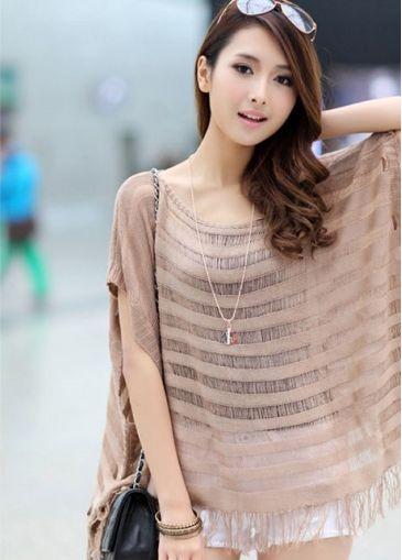 Summer Bestselling Tassel Design Khaki All Match T Shirt