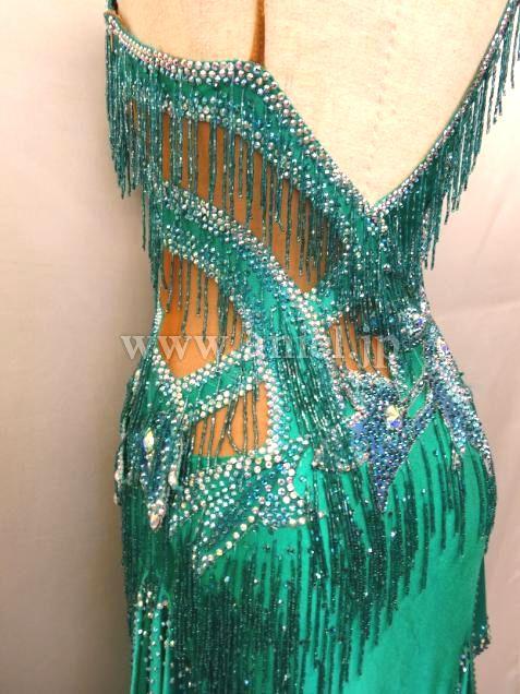 社交ダンスドレスのドレスネットアニエル / L1832・エメラルドグリーン
