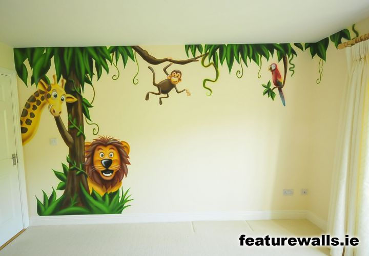 Kids farm mural | jungle room boys space room mural