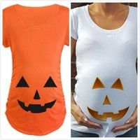 Mama   New Trendy Tops For Pregnant Woman Pumpkin Carved Face Halloween Printed Maternity Clothes T-shirt Pregnancy Clothes
