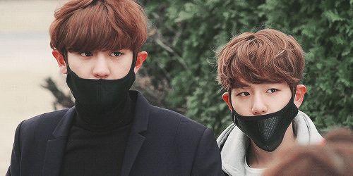 Chanyeol & Baekhyun // their ears look the same haha so cute // EXONEXTDOOR