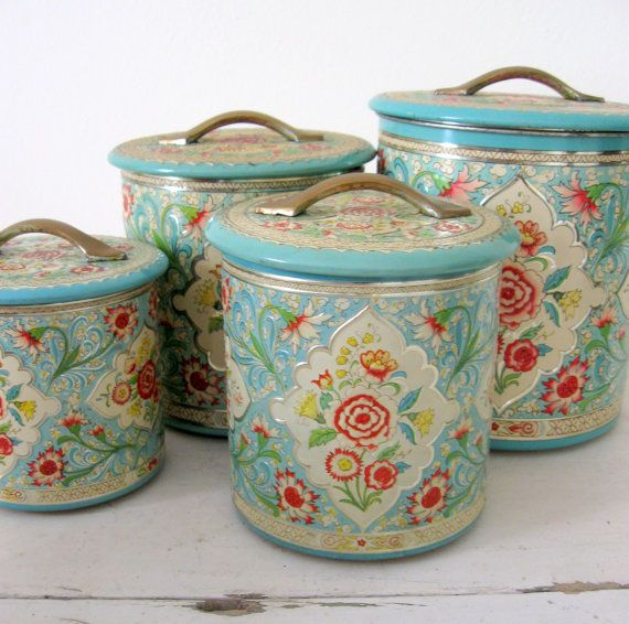 939 best canister sets images on pinterest vintage for Retro kitchen set of 6 spice tins