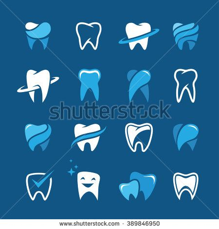 Set of teeth, tooth icons on blue background. Can be used as logo for dental, dentist or stomatology clinic, teeth care and health concept