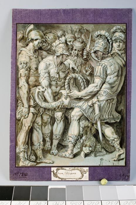 Alexander the Great cutting the Gordian knot. C. 1600. Unknown Dutch (?) artist, after Perino del Vaga,   Drawing in pen and pencil, brown ink, white, gouache on green-blue paper