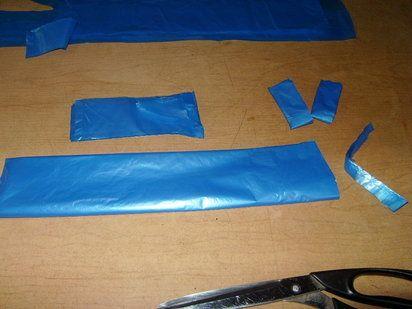 preparación para tejer con bolsas de plastico
