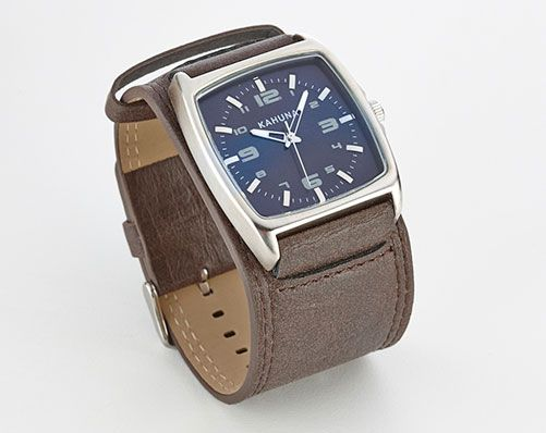 Stylish Men's Kahuna splash proof quartz watch, with brown leather cuff strap and double buckle, presented in a cool box.  Internet special - not available in our catalogues.  With 2 Year Guarantee   RRP £39.95
