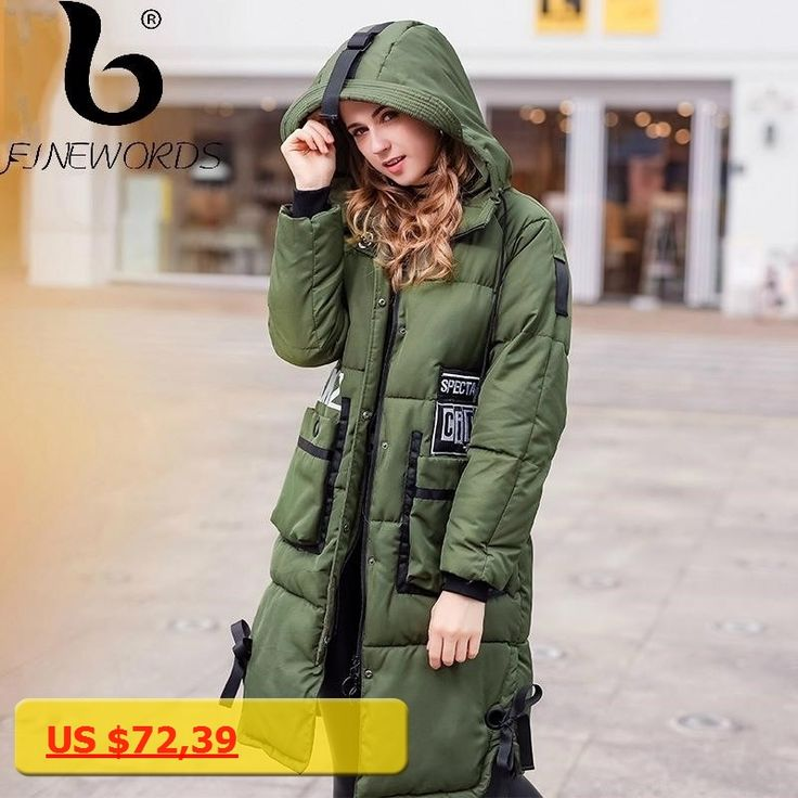 FINEWORDS Vintage Thick Warm Long Winter Coat Women Embroidery Patch Hooded Casual Outerwear Jacket Fashion manteau femme hiver