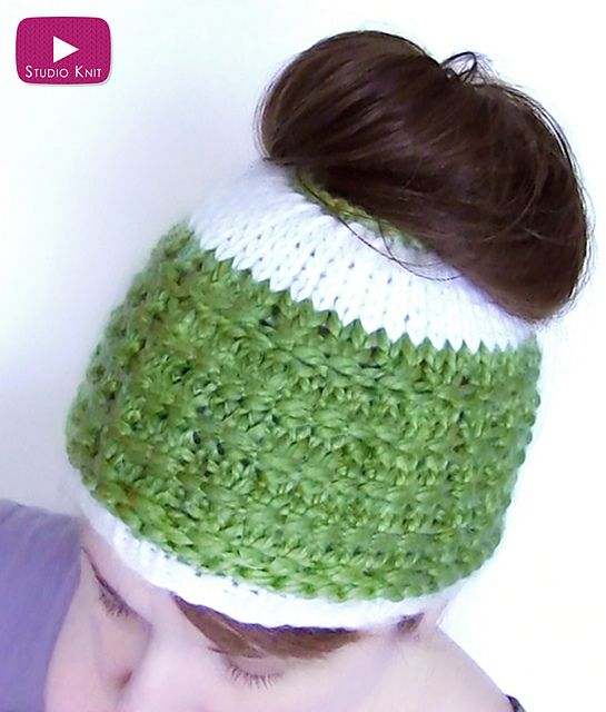 Free Knitting Pattern for Messy Bun Hat - This easy messy bun hat from Kristen McDonnell at Studio Knits is a quick knit in bulky yarn.
