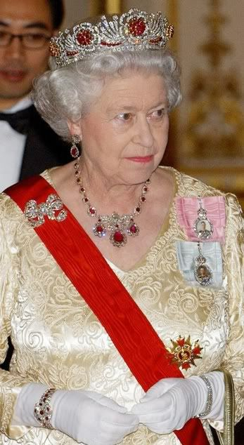 County of Cornwall Ruby and Diamond Bracelet, Burmese Ruby Tiara, Baring Ruby Necklace and Earrings, and Diamond Bow Brooch worn by HM Queen Elizabeth II