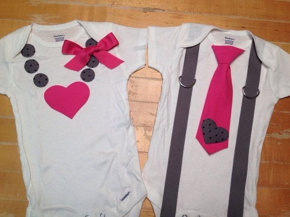 Twin Valentines onesies, twin shirts, boy girl twin onesies, Valentines onesies, tie onesies, necklace onesie, on Etsy, $42.49 by staci