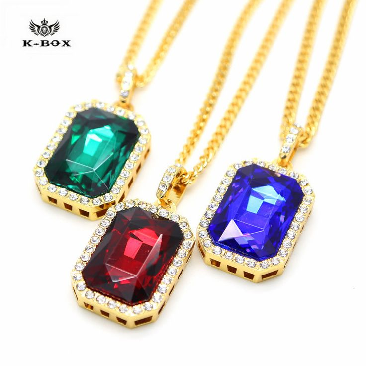 Mens Iced Out Hip Hop Gold RICH GANG BIRDMAN Red Ruby Emerald Sapphire Square Pendant 27.5